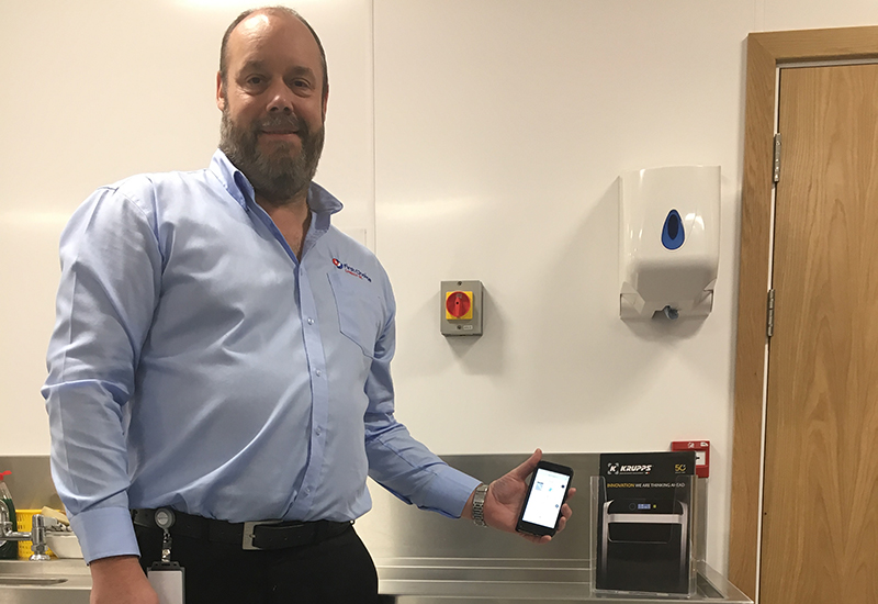 Technical training manager Martin Dagnall can now monitor the Krupps dishwasher at First Choice headquarters via Wi-Fi.